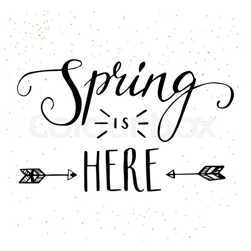 'Spring is here' hand lettering with ... | Stock Vector ...