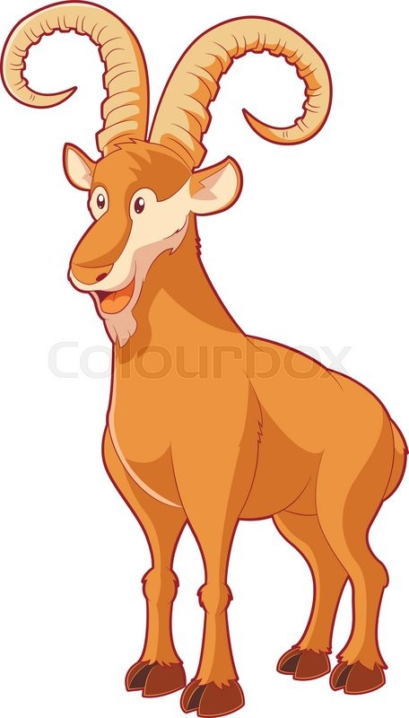 vector image of the cartoon smiling goat
