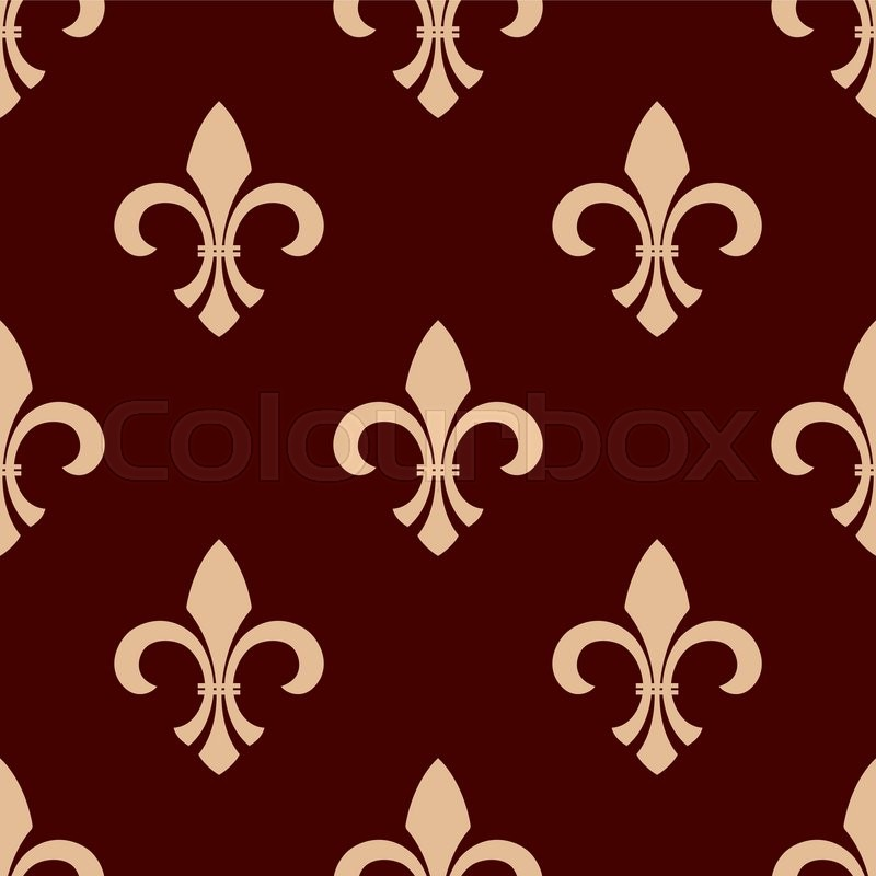 Medieval Heraldic Floral Seamless Pattern For Interior