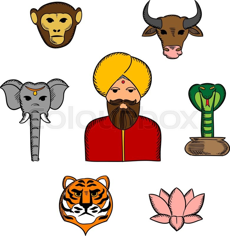 Sacred Animals And National Symbols Of India With Elephant And Cow