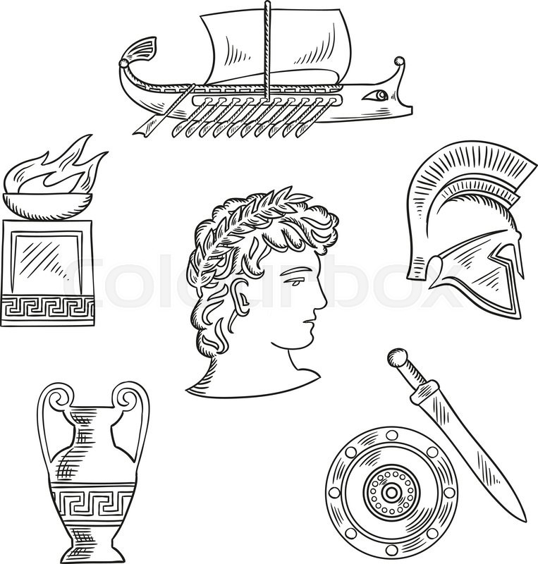 Historical And Cultural Symbols Of Ancient Greece With Emperor In