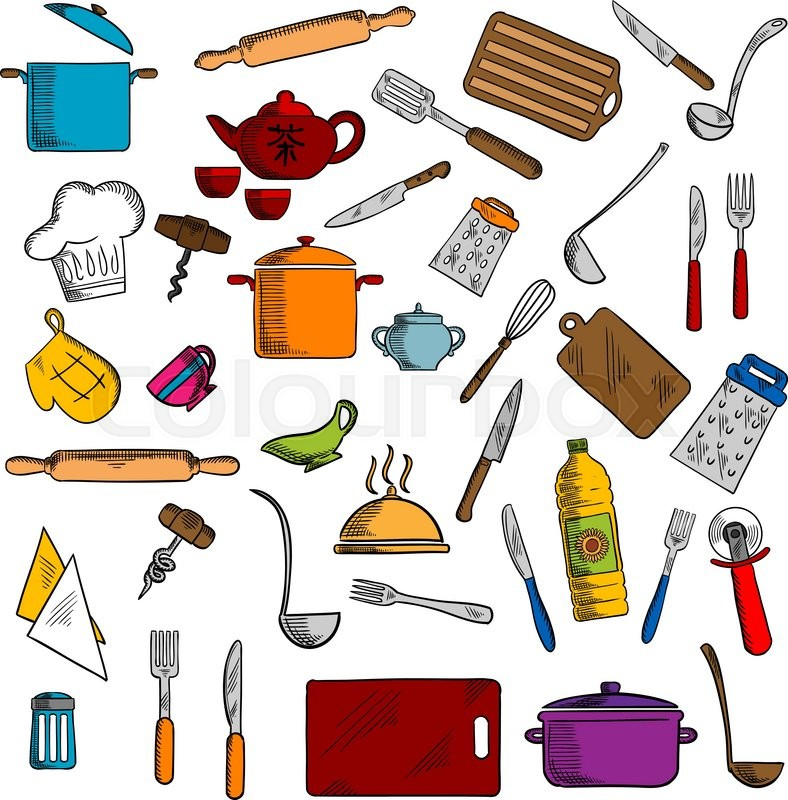 Sketched Kitchen Utensils And Kitchenware Icons With Pots