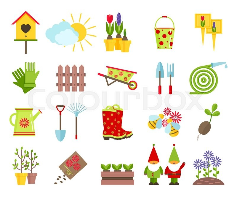garden tools and other elements of gardening flat icons set garden