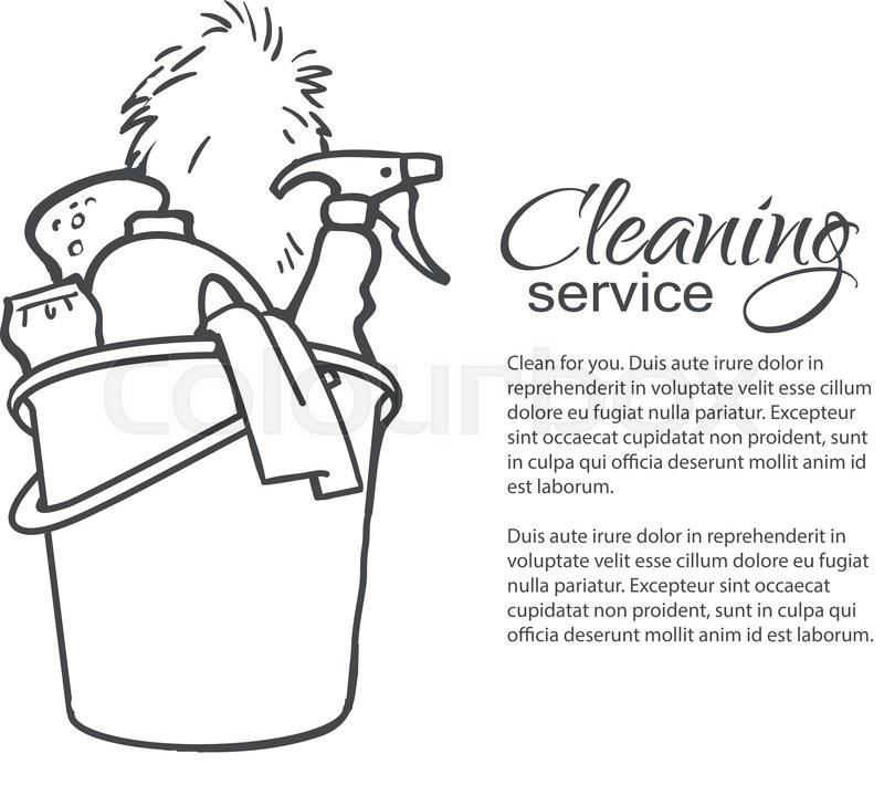 Cleaning Services Hand Drawn Spray Stock Vector