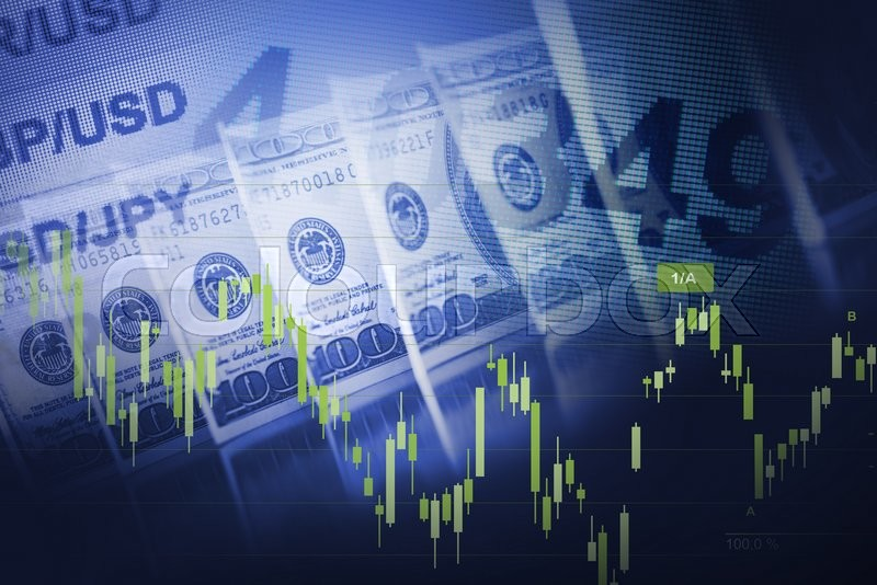 Forex Currency Trading Blue Concept with American Dollars. , stock photo