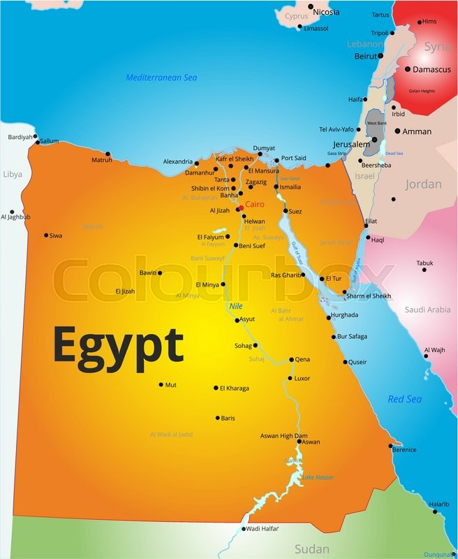 Hand Drawn Of Egypt Map Vector Illustration Stock Vector - Map of egypt vector