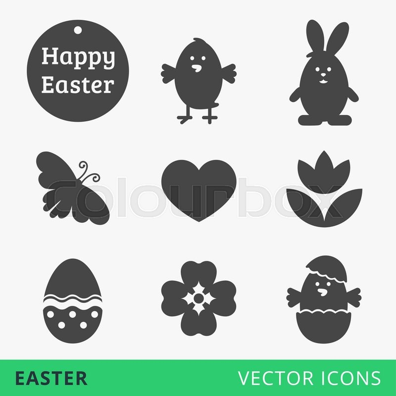Easter Signs Vector Icons Happy Easter Text On Banner Easter