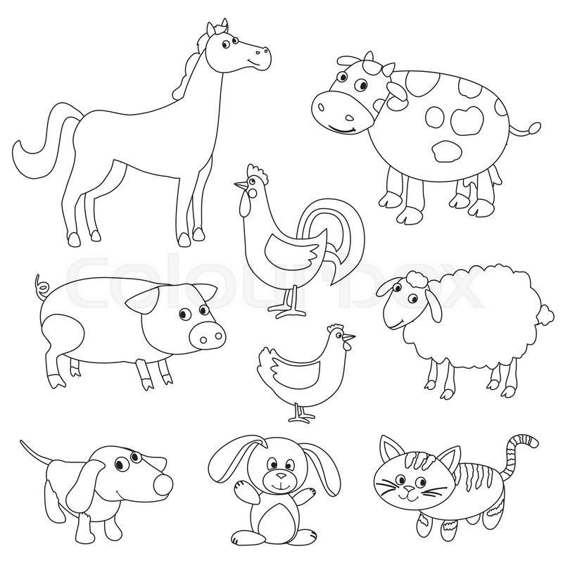 Cute cartoon farm animals and birds for coloring book Coloring book pictures of farm animals
