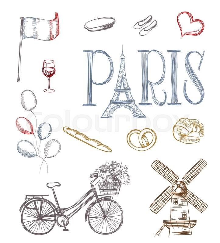 Hand drawn paris symbols. tour eiffel, french bakery, mill ...