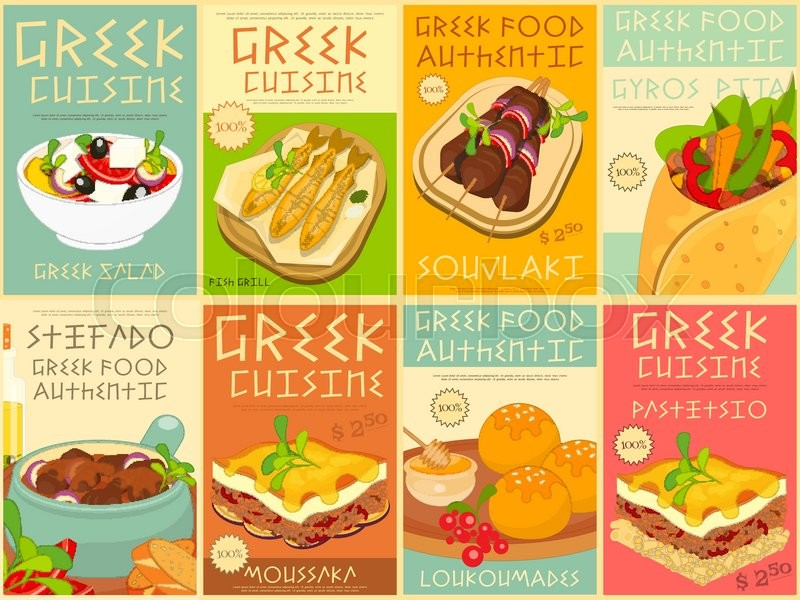 greek food menu card with traditional meal greek cuisine food collection greek food posters. Black Bedroom Furniture Sets. Home Design Ideas