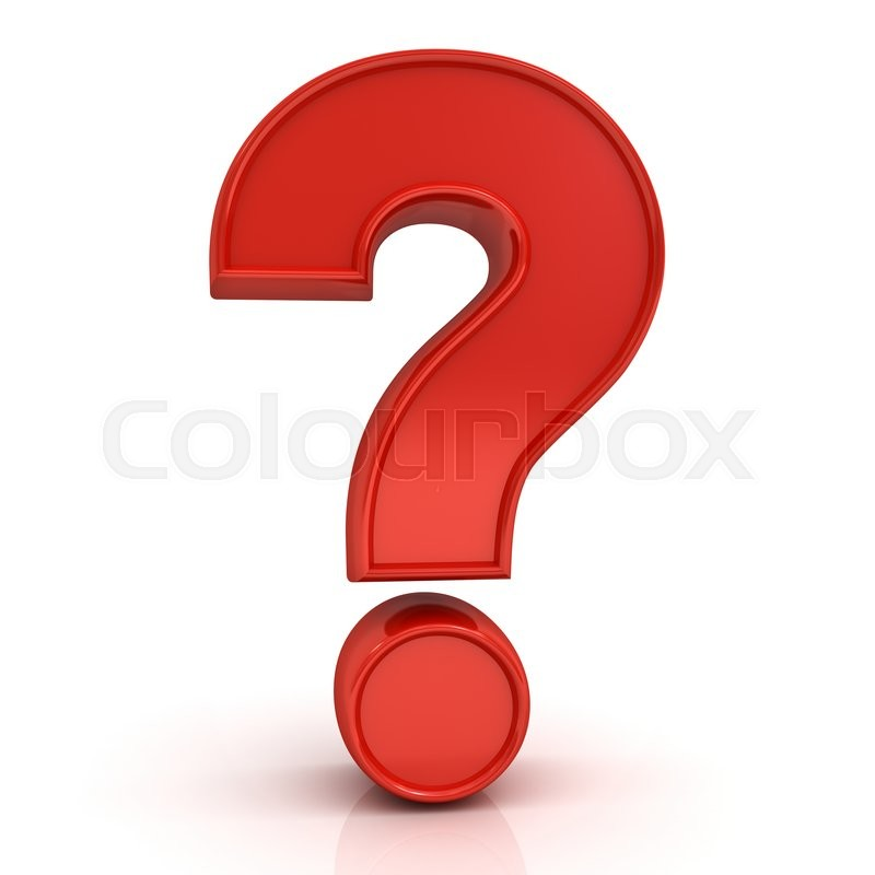Stock image of 'Red question mark isolated over white background with reflection.'