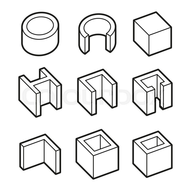 metal profiles icons set steel products vector illustration