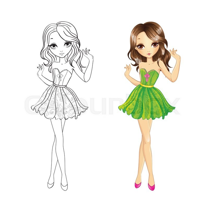 Coloring book vector illustration of beautiful party girl in green ...