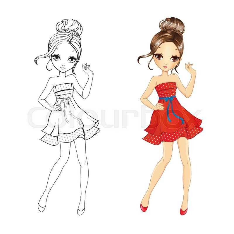 Coloring Book Vector Illustration Of Beautiful Girl In Retro Red Dress