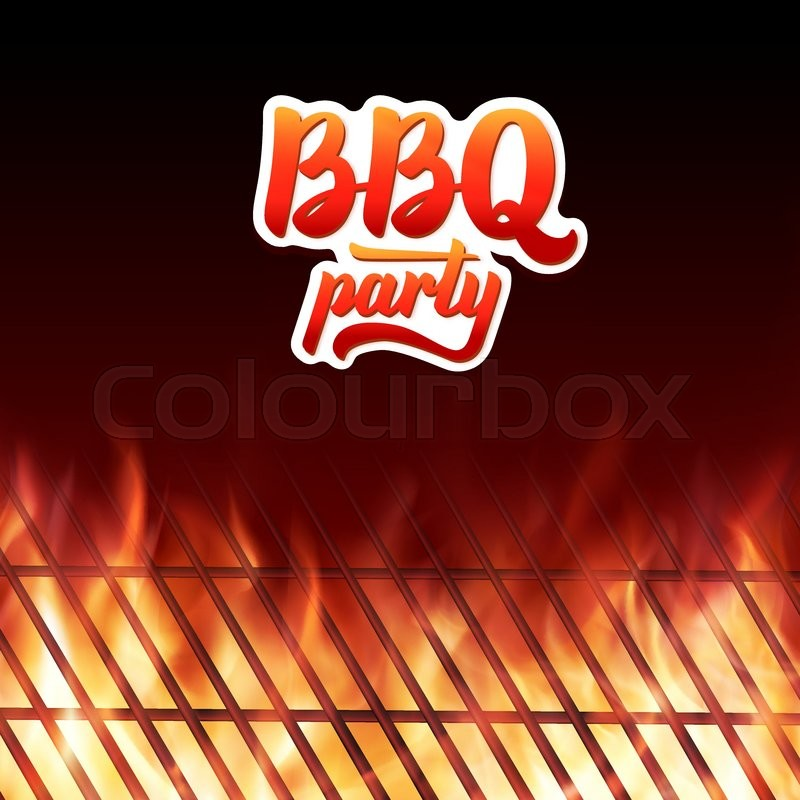 barbecue party poster template  bbq text lettering logo