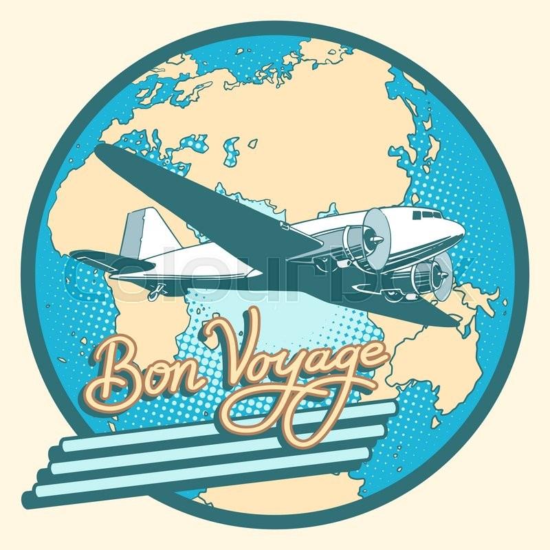Bon Voyage Abstract Retro Plane Poster ...