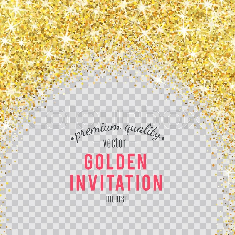 Gold Glitter Texture Isolated On Transparent Background. Vector  Illustration For Golden Shimmer Background. Sparkle Sequin Tinsel Yellow  Bling.