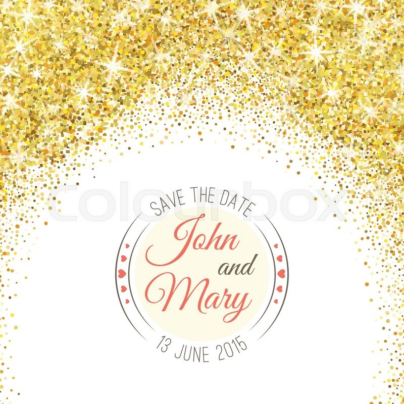 perfect wedding template with golden confetti theme ideal for save
