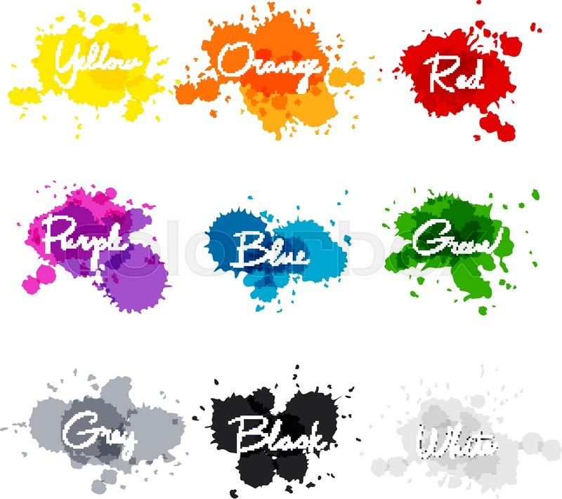 Signed The Names Of Colors Colorful Watercolor Drops Hand Written Name Color Yellow Orange Red Purple Blue Green Grey Black White Art