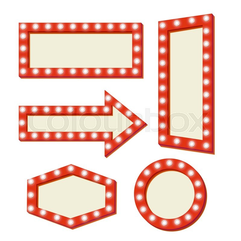 Retro sign with lights. Red frame with neon lights. Simple and empty ...