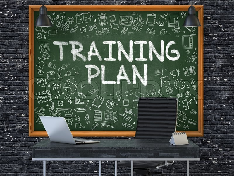 Hand Drawn Training Plan On Green Chalkboard. Modern Office Interior. Dark  Brick Wall Background. Business Concept With Doodle Style Elements.