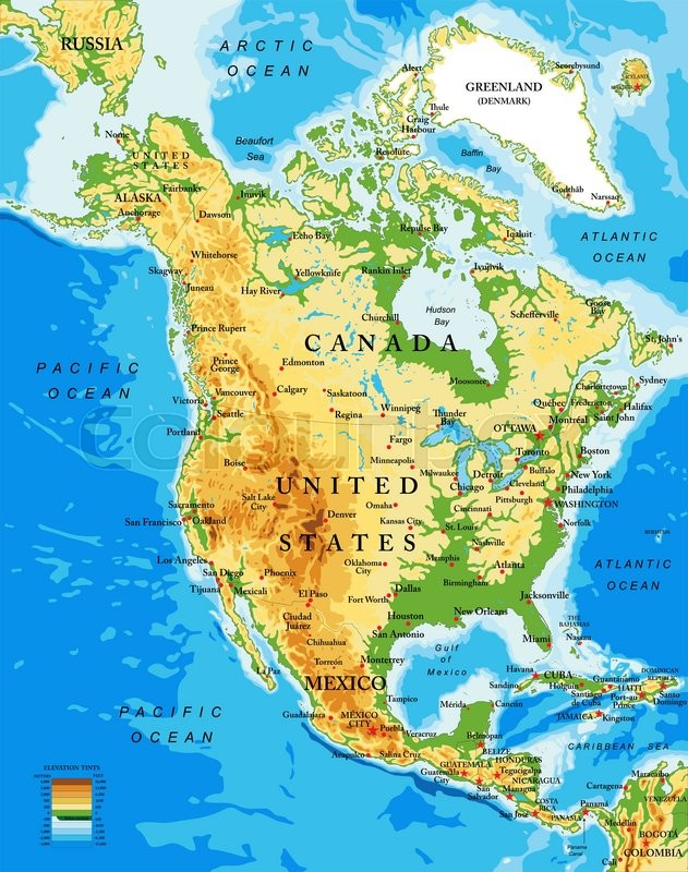 Highly detailed physical map of North America,in vector format,with ...