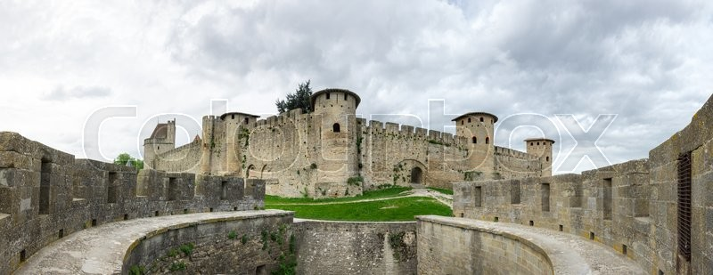 Medieval castle and city of Carcassonne, Languedoc - Roussillon, France, stock photo
