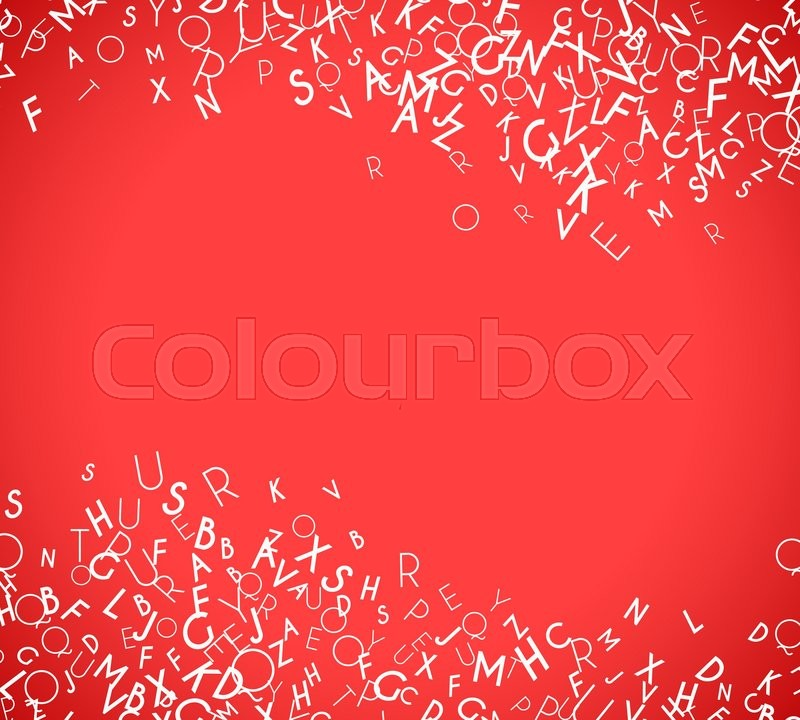 abstract white alphabet ornament border isolated on red background