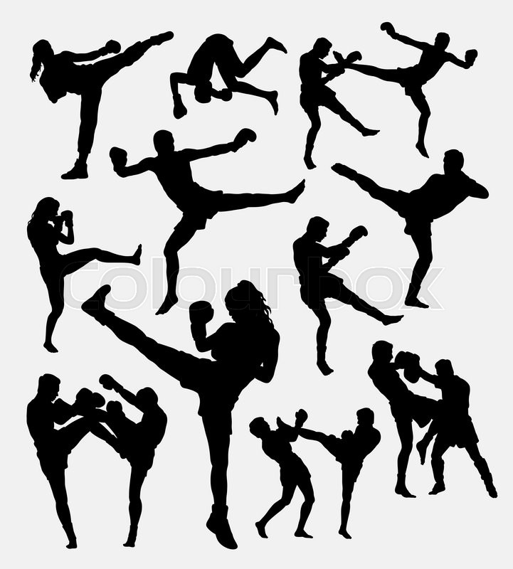 Muay Thai Boxing Male And Female Kick Boxing Silhouette Good Use