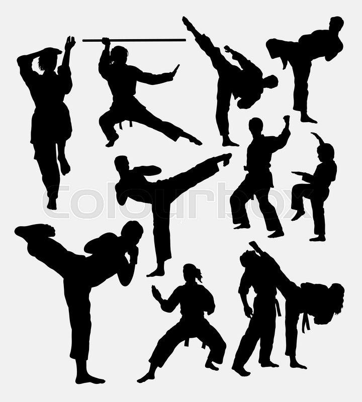 karate fight martial art male and female good use for symbol logo