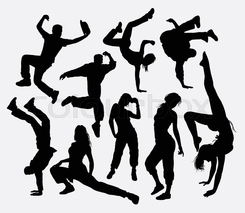 Freestyle Dance, Male And Female Action Silhouette. Good
