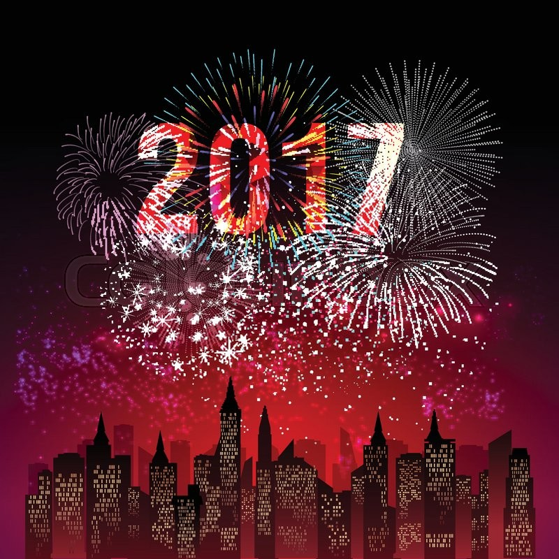 Happy New Year 2017 With Fireworks Stock Vector Colourbox