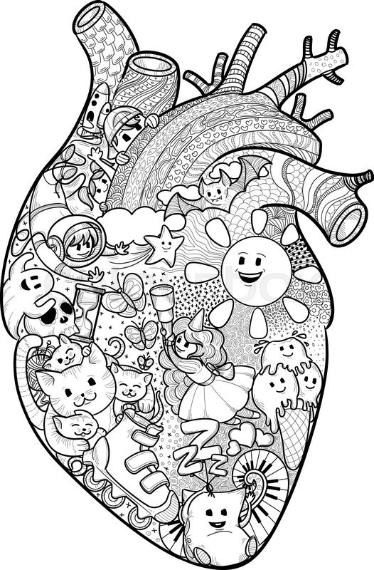 Anatomical Heart Shape Filled With Funny Doodles Texture Freehand