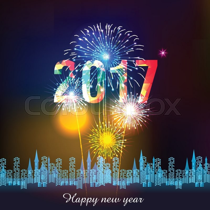 happy new year 2017 with fireworks background stock vector colourbox