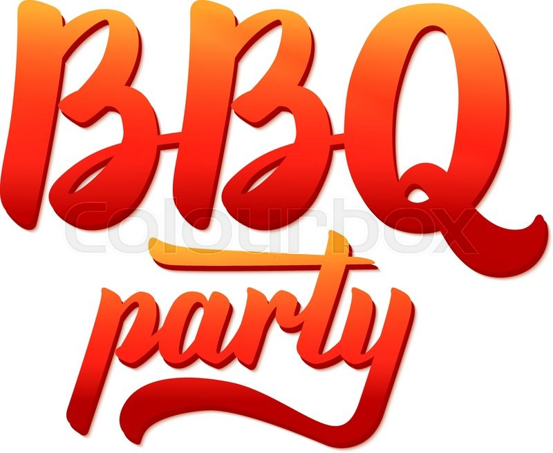 BBQ party logo. Barbecue text lettering label. Close-up of ... | 800 x 656 jpeg 76kB