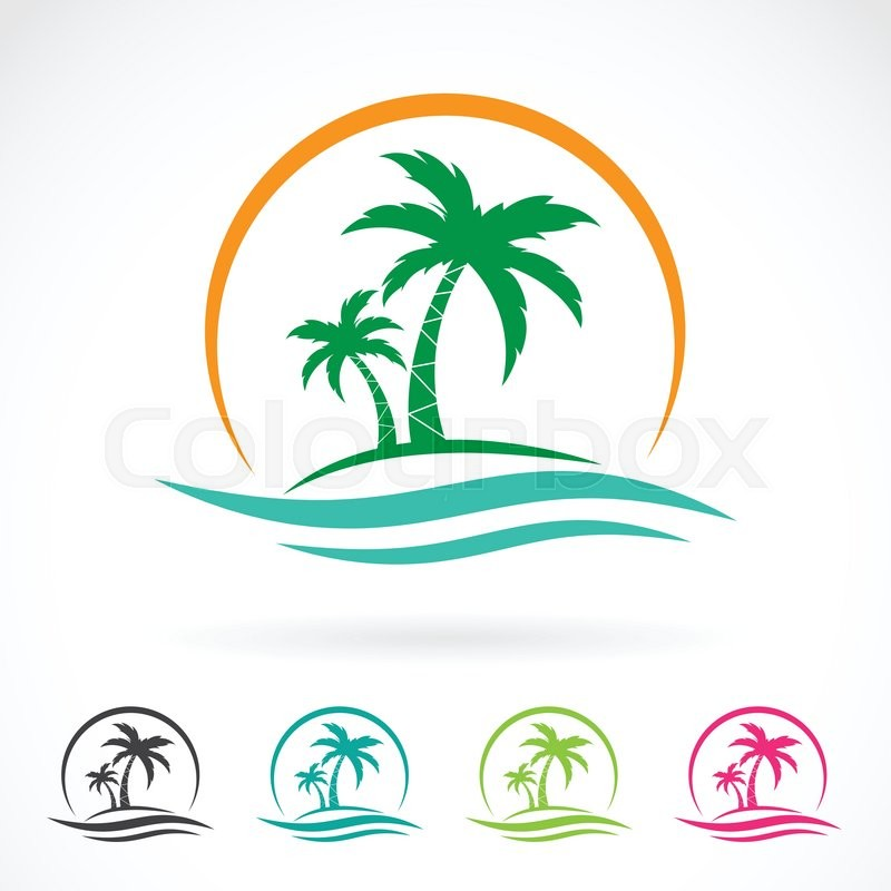 Vector image of an palm tropical tree icon on white background ...