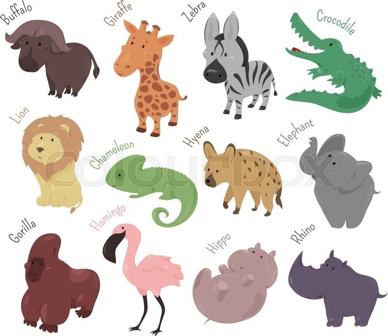 Set Of Cute Cartoon Animals Funny Savannah Wild Zoo