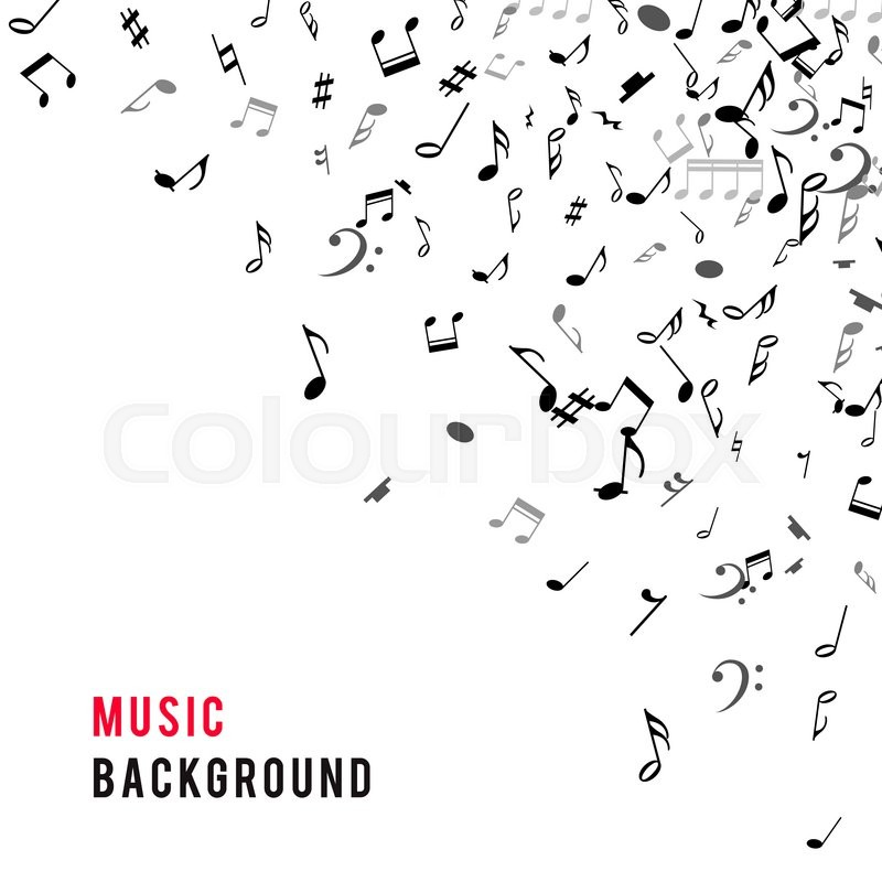 Abstract Musical Frame And Border With Black Notes On White