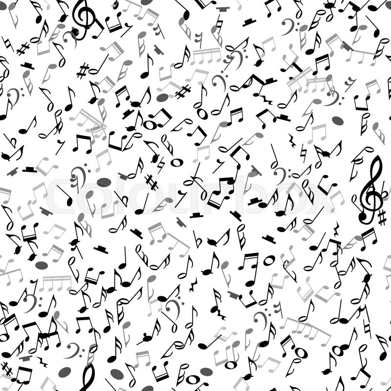 abstract musical seamless pattern with black notes on