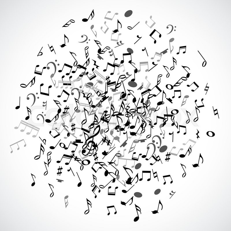 Abstract Musical Dot Element With Black Notes On White Background