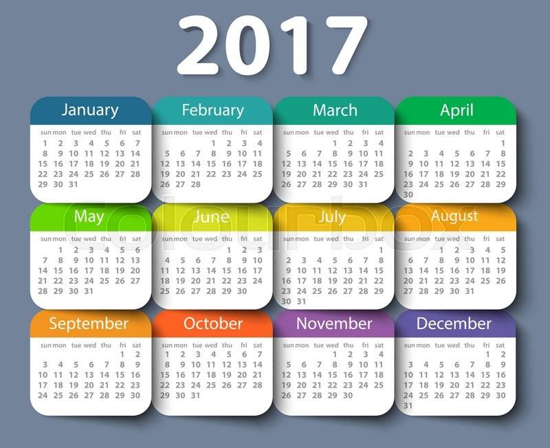 Calendar 2017 year vector design template. EPS10 | Stock Vector ...
