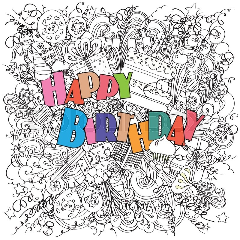 Happy Birthday greeting card on white background with celebration – Doodle Birthday Card