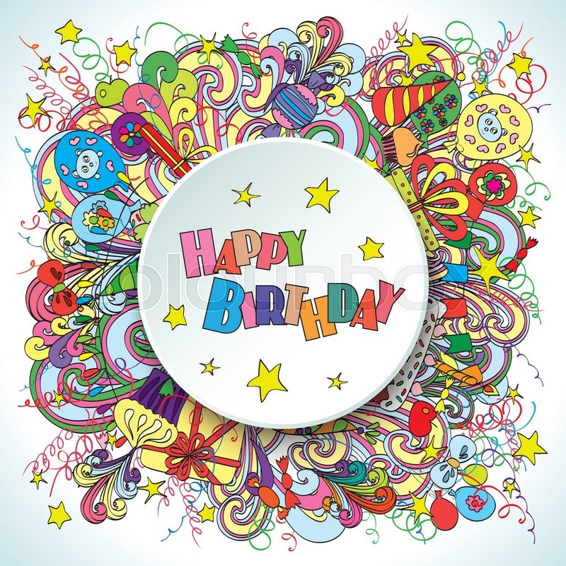Happy Birthday Greeting Card On White Background With