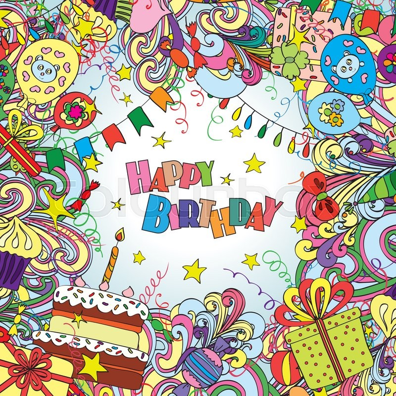 Happy Birthday Greeting Card On White Stock Vector