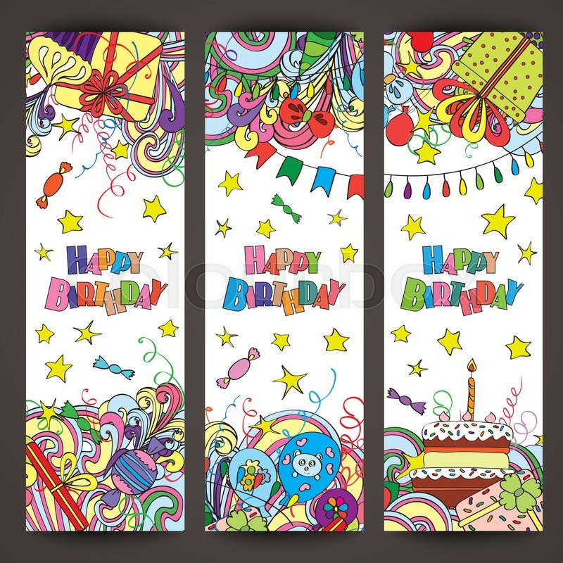 Happy Birthday Greeting Banners With Celebration Elements
