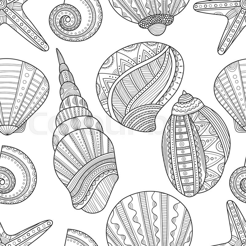 Seamless Black And White Pattern Of Sea Shells To Coloring Book Pages Vector Illustration