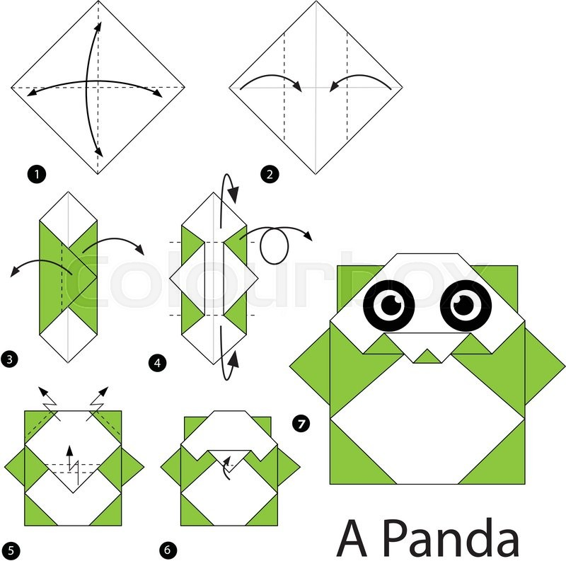 Step By Step Instructions How To Make Origami A Panda Stock