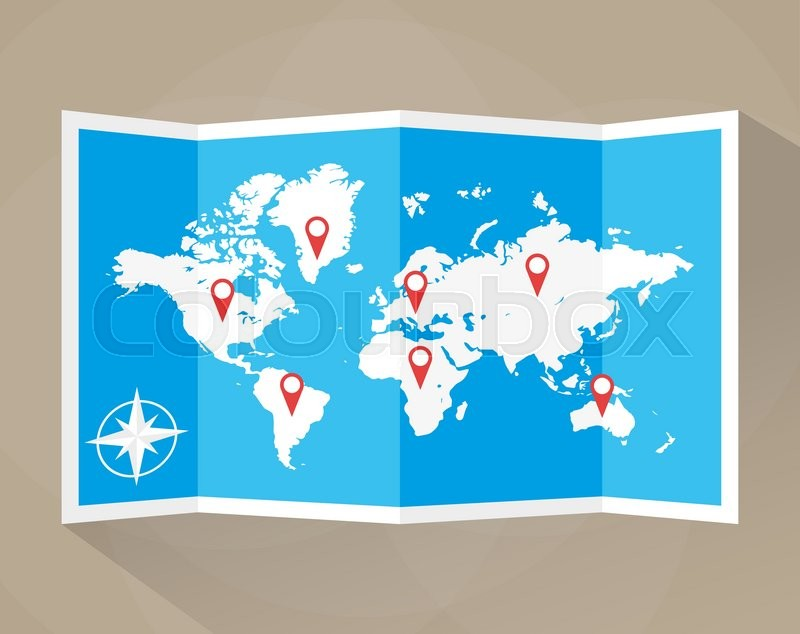 Paper world map with location icons map icon vector map vector paper world map with location icons map icon vector map vector illustration in flat design on brown background stock vector colourbox gumiabroncs Gallery