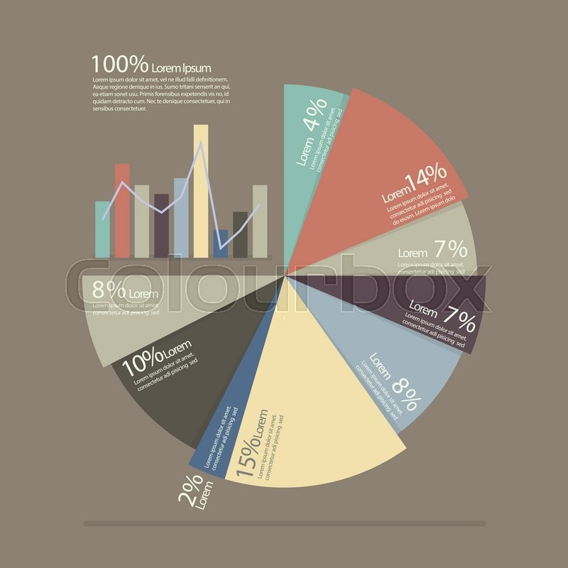 pie chart and bar chart for documents and reports infographic flat