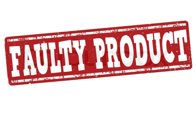 Faulty product grunge rubber stamp on white background ...
